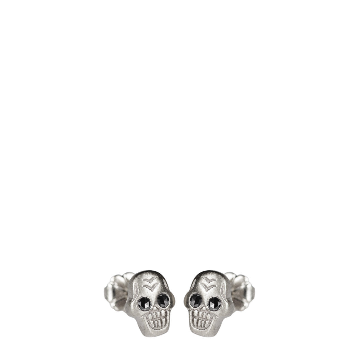 Sterling Silver Tiny Skull Stud Earrings with Black Diamond Eyes
