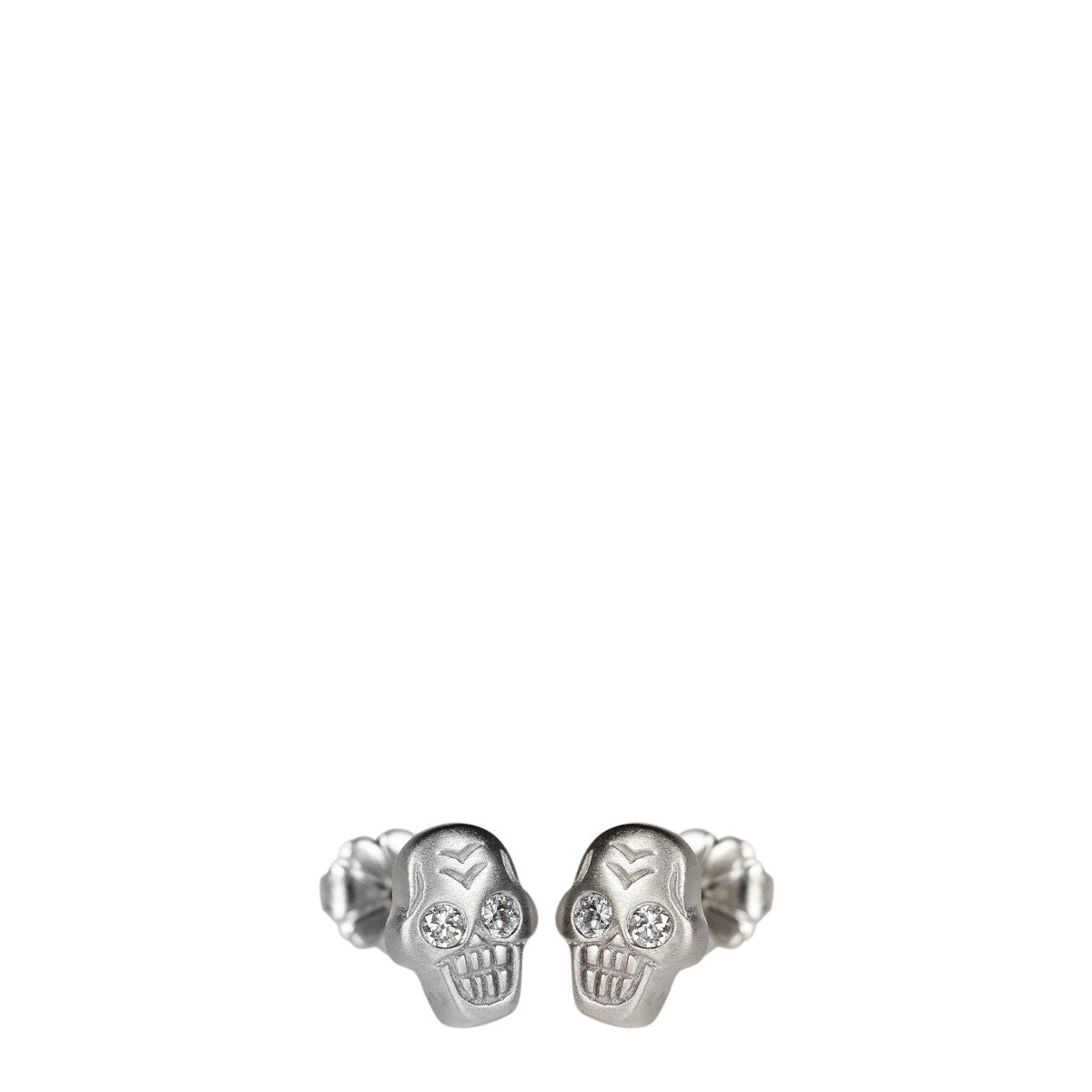Sterling Silver Tiny Skull Stud Earrings with White Diamond Eyes