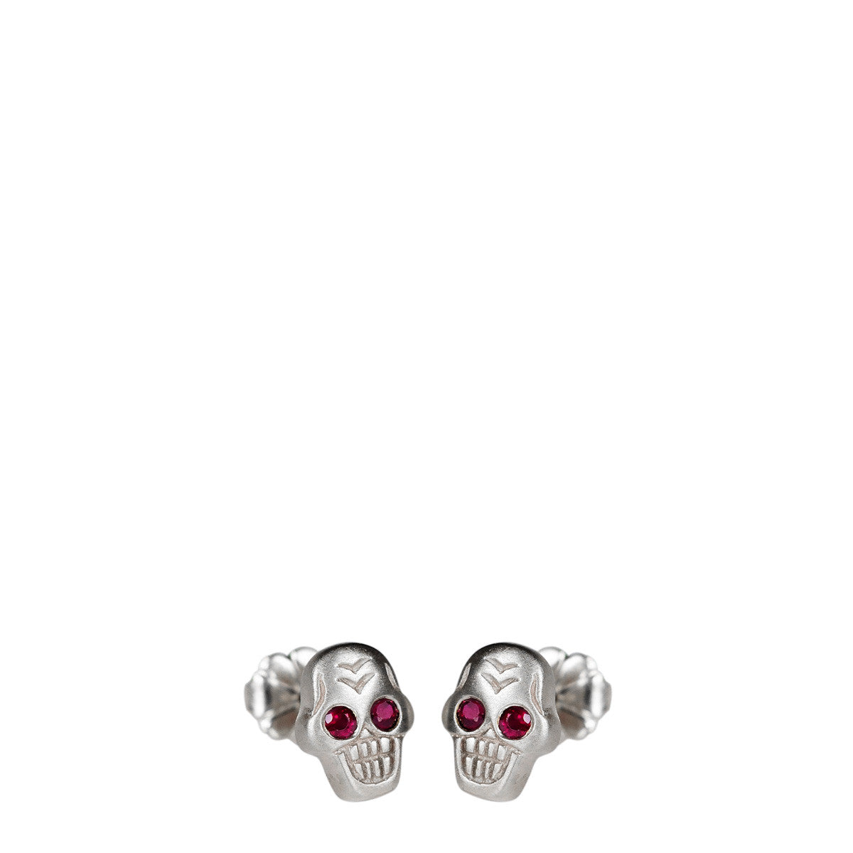 Sterling Silver Tiny Skull Stud Earrings with Ruby Eyes