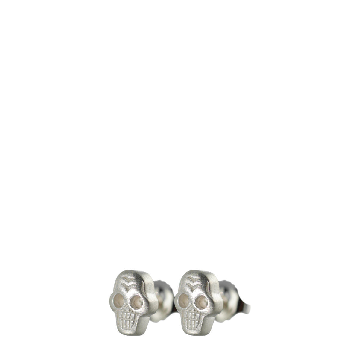 Sterling Silver Tiny Skull Stud Earrings