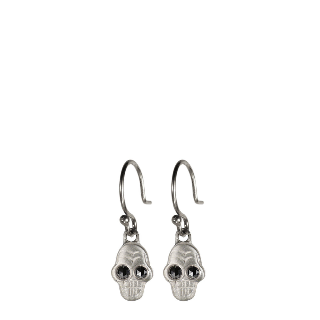 Sterling Silver Tiny Skull Earring with Black Diamond Eyes