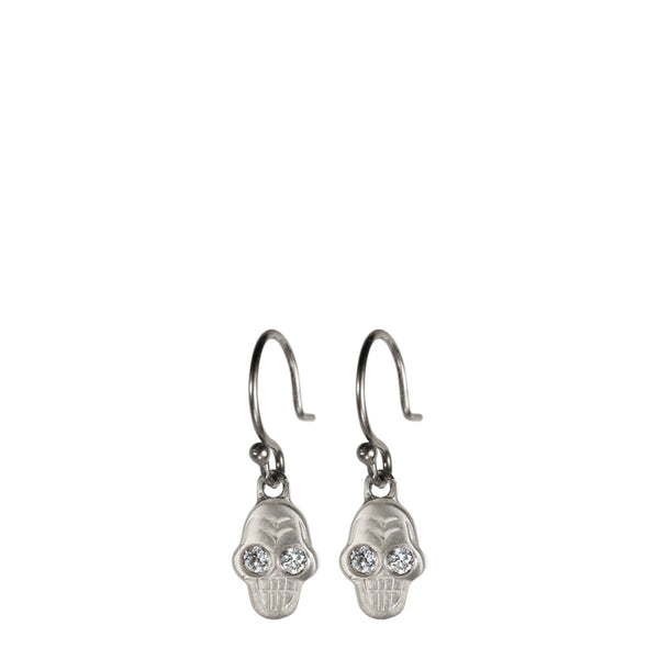 Sterling Silver Tiny Skull Earring with White Diamond Eyes
