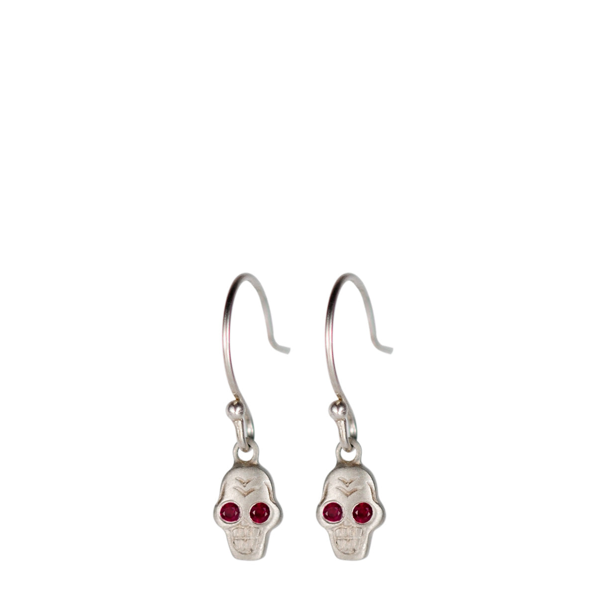 Sterling Silver Tiny Skull Earring with Ruby Eyes