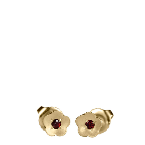 10K Gold Buttercup Stud Earrings with Garnet