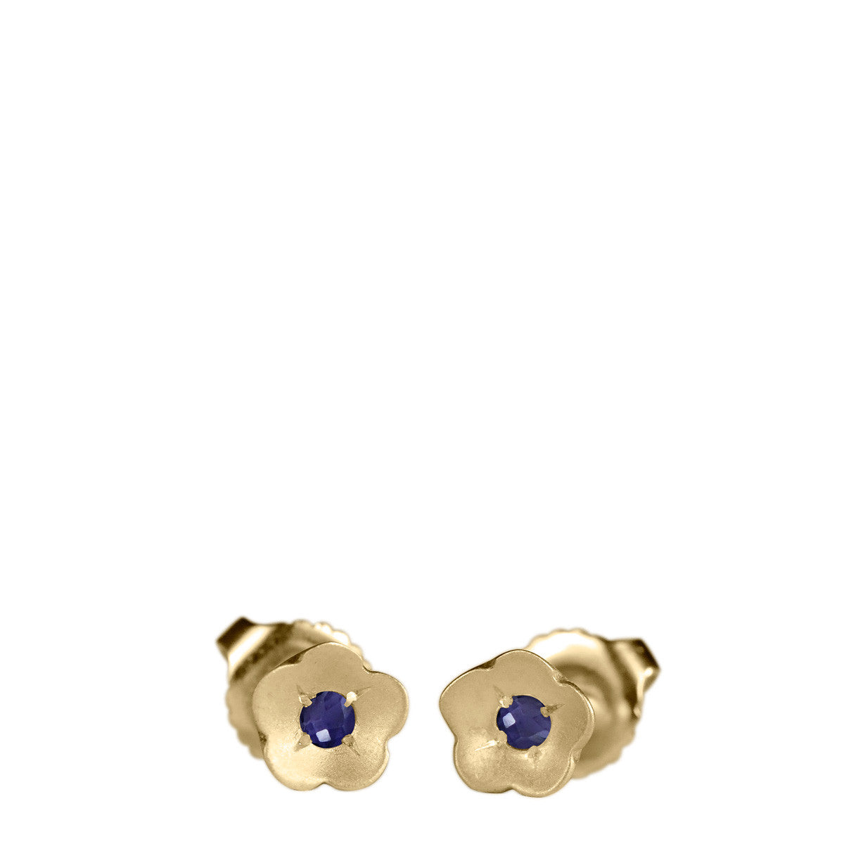 10K Gold Buttercup Stud Earrings with Iolite