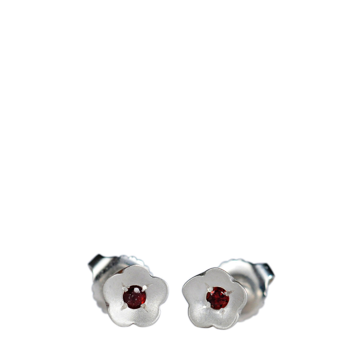 Sterling Silver Buttercup Stud Earrings with Garnet