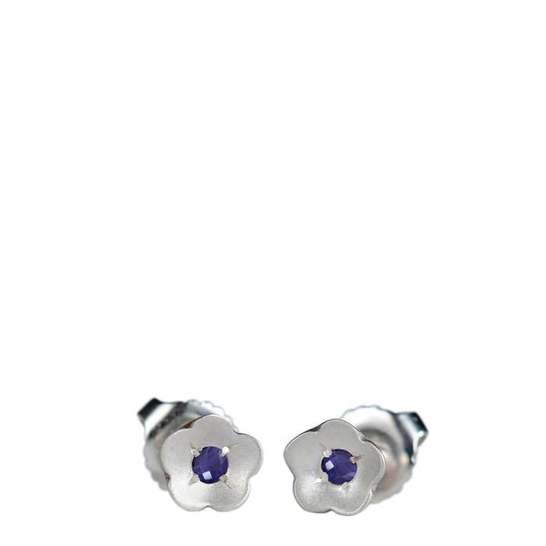 Sterling Silver Buttercup Stud Earrings with Iolite