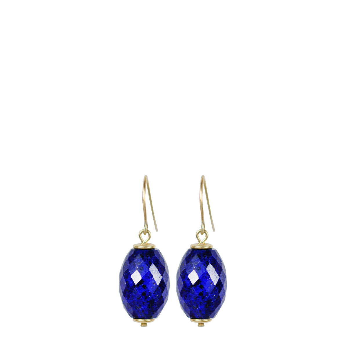 18K Gold Large Lapis Oval Bead Drop Earrings