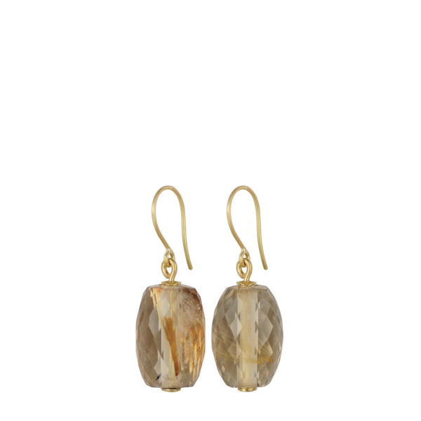 18K Gold Large Oval Rutilated Quartz Drop Earrings
