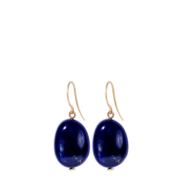 18K Gold Lapis Drop Earrings