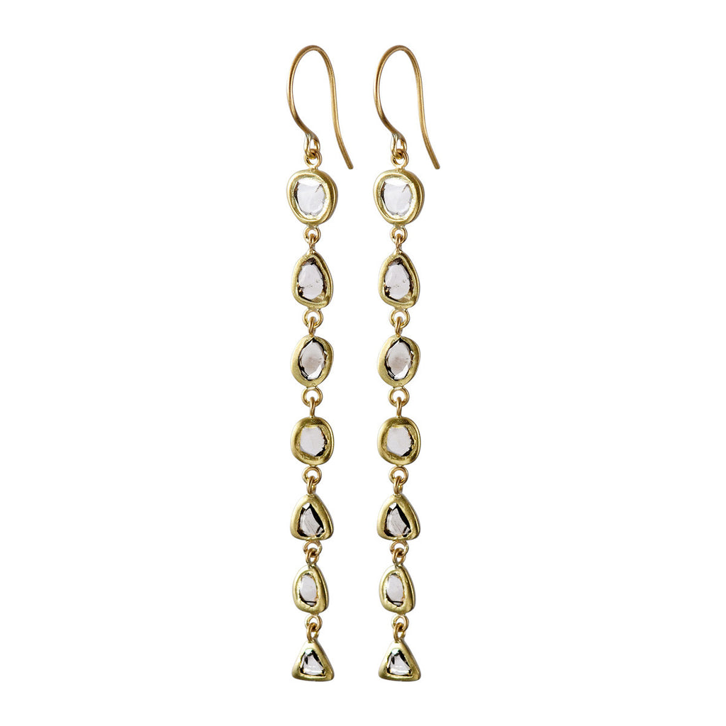 18K Gold Long Flat Diamond Earrings