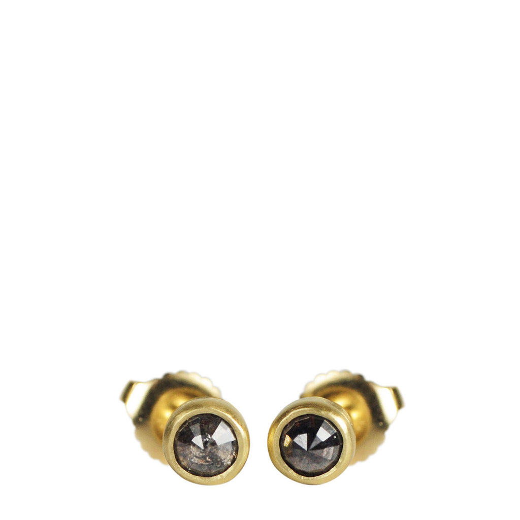 18K Gold Charcoal 4mm Opaque Diamond Stud Earrings