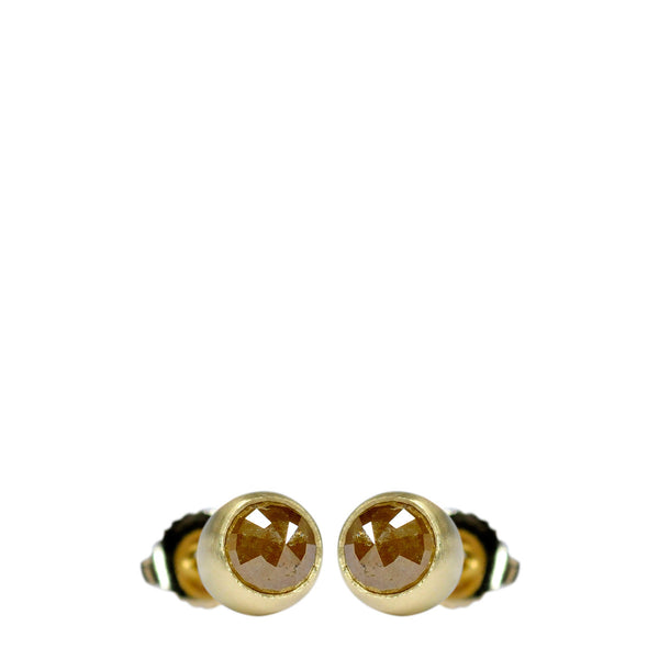 18K Gold 6mm Opaque Diamond Stud Earrings