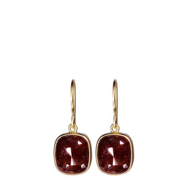 18K Gold Red Cushion Opaque Diamond Earrings