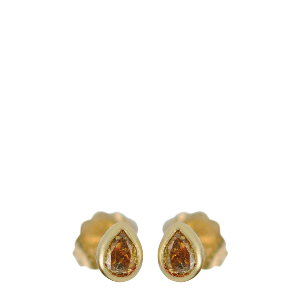 18K Gold Fancy Colored Teardrop Studs
