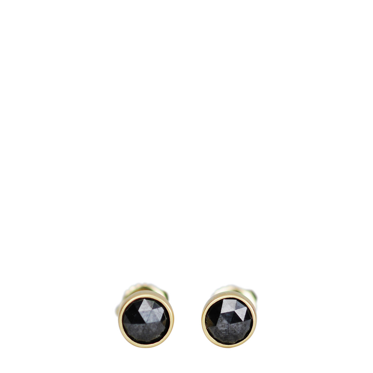 18K Gold 5.5mm Black Diamond Studs