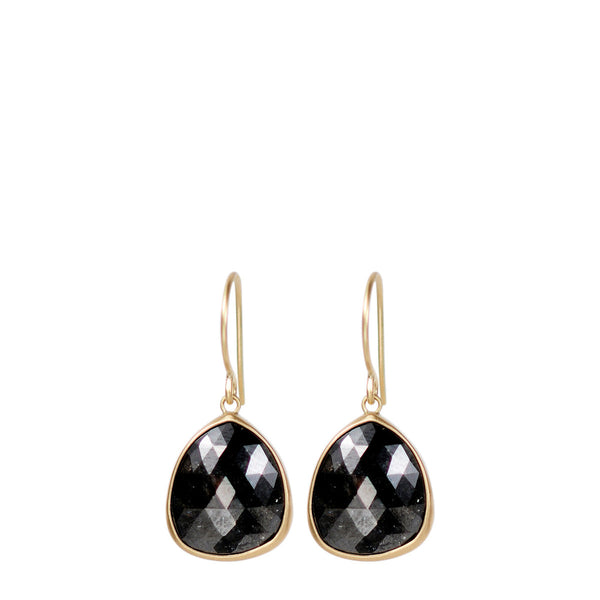 18K Gold Charcoal Opaque Diamond Earrings