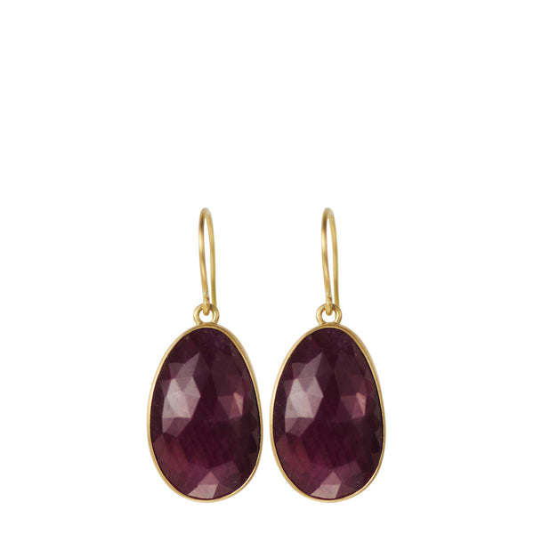 18K Gold Medium Ruby Earrings
