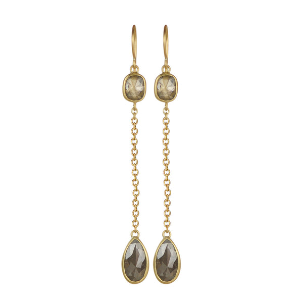 18K Gold Opaque Diamond Drop Earrings with Chain