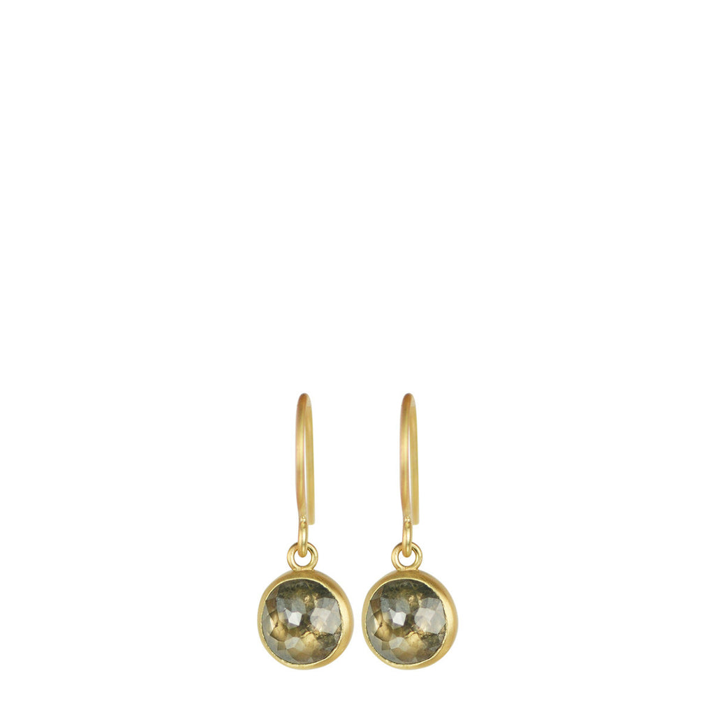 18K Gold Round Opaque Diamond Drop Earrings