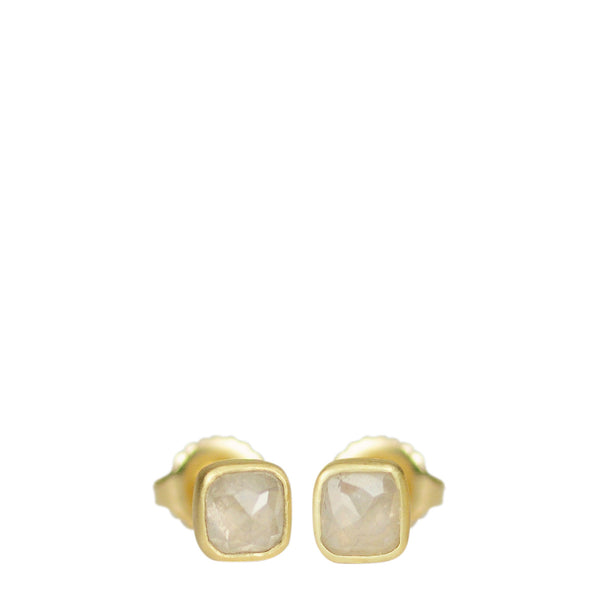 18K Gold Grey Opaque Diamond Stud Earrings