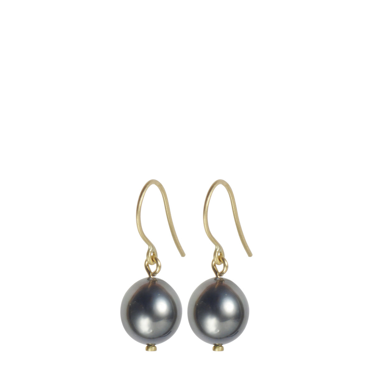 18K Gold Tahitian Pearl Drop Earrings
