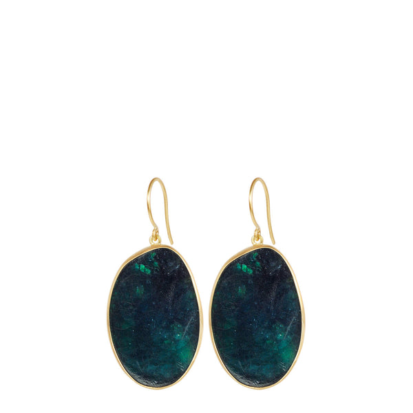 18K Gold Smooth Emerald Slice Earrings