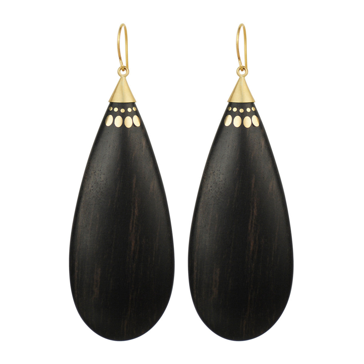 18K Gold Large Ebony Teardrop Earrings
