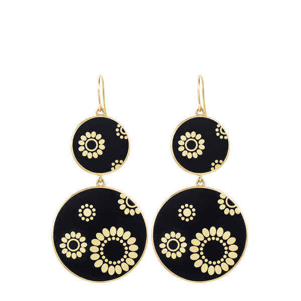 18K Gold Ebony Double Disc Earrings