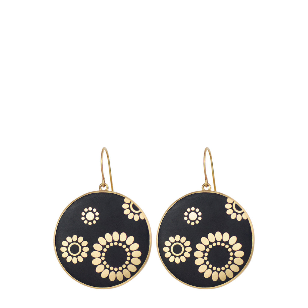 18K Gold Large Ebony Flower Disc Earrings