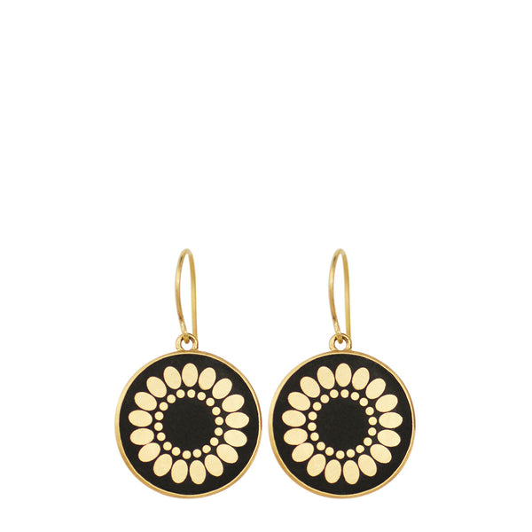 18K Gold Small Ebony Flower Disc Earrings