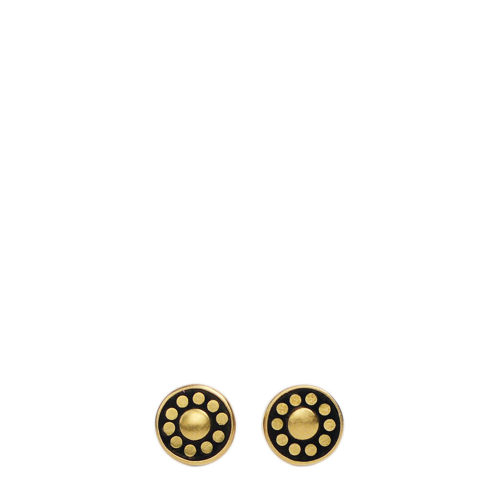 18K Gold Tiny Ebony Flower Studs