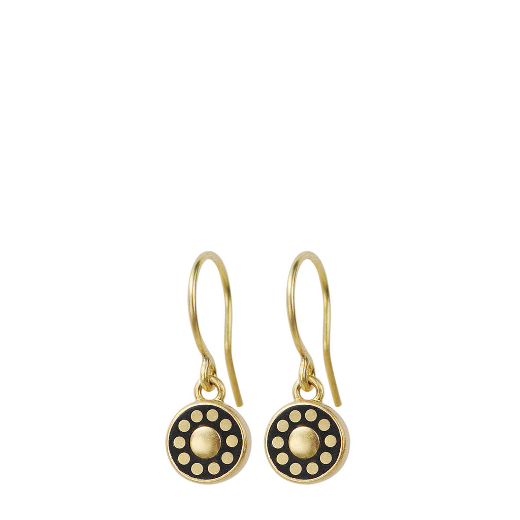 18K Gold Tiny Ebony Flower Earrings