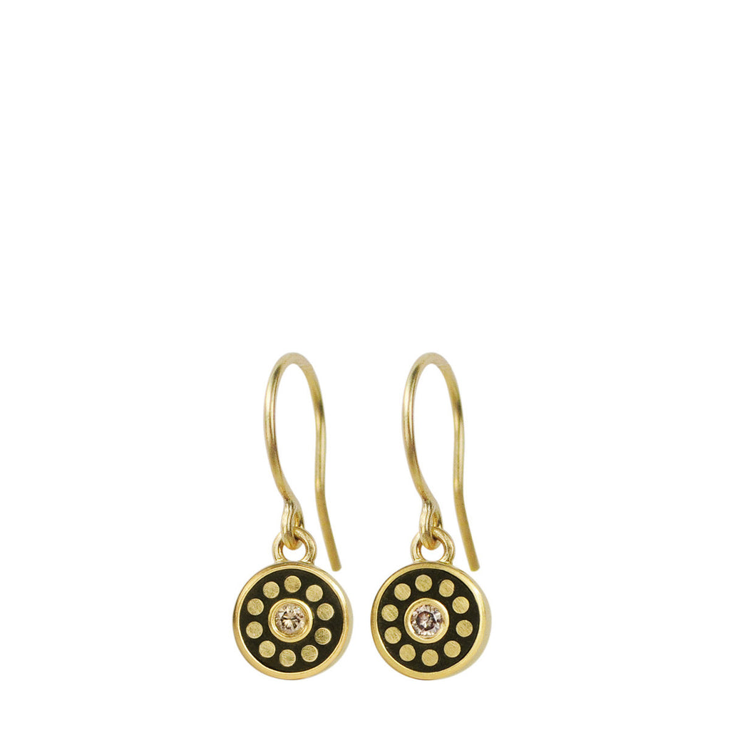 18K Gold Tiny Ebony Flower Earrings with Diamonds