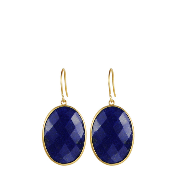 18K Gold Large Lapis Earrings