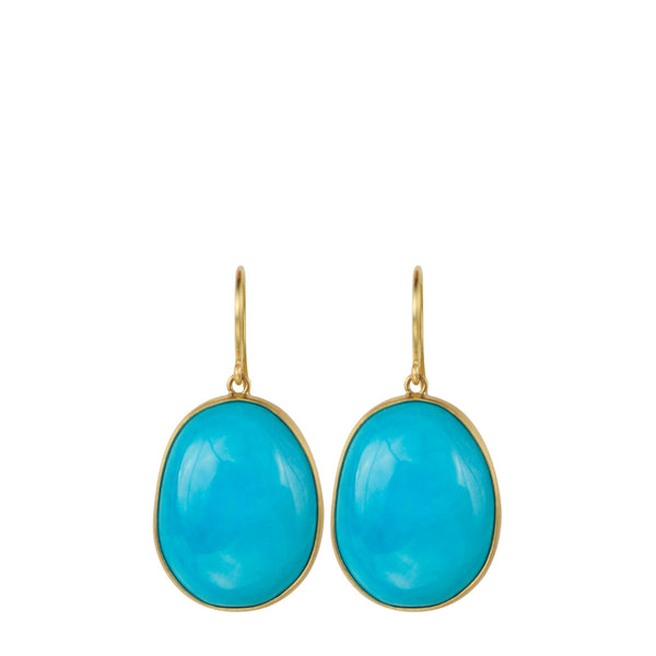 18K Gold Large Turquoise Earrings