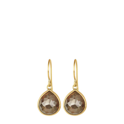 18K Gold Dusty Orange Opaque Diamond Earrings