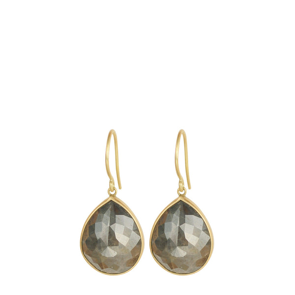 18K Gold Grey Opaque Diamond Earrings
