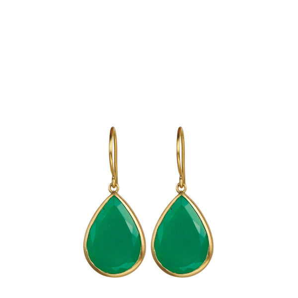 18K Gold Chrysoprase Earrings
