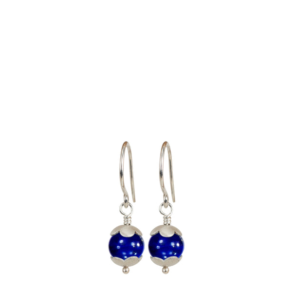 Sterling Silver Small Flower Capped Bead Earring in Lapis