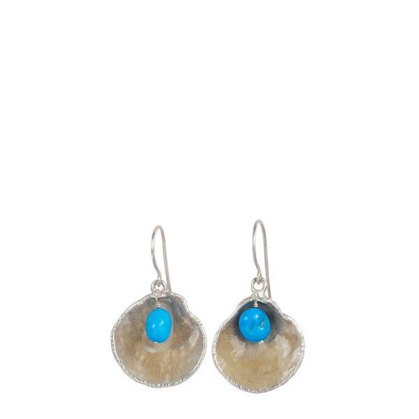 Jingle Shell with Turquoise Bead Drop Earrings