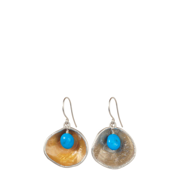 Jingle Shell with Turquoise Bead Drop Earring