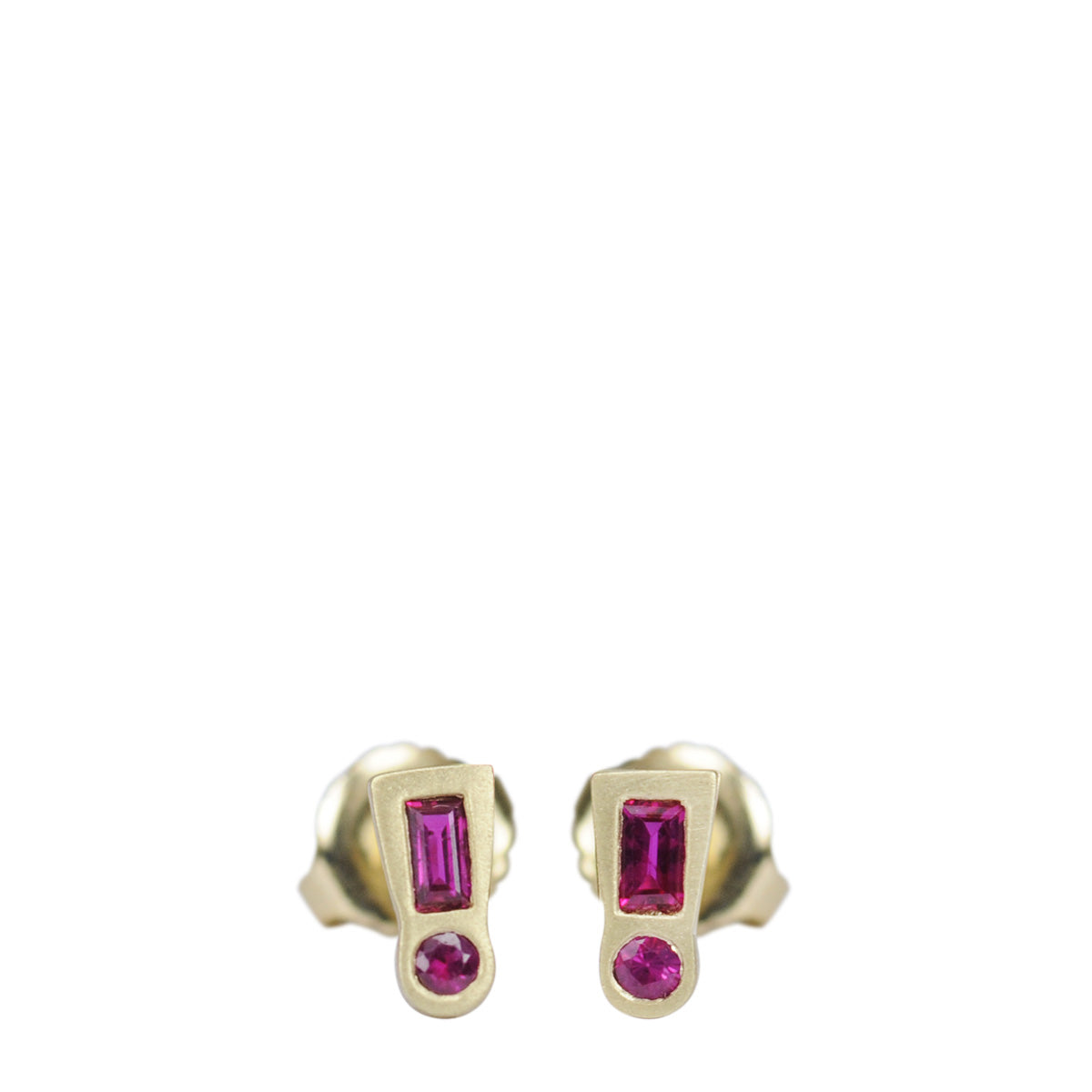 18K Gold Ruby Exclamation Point Stud Earrings