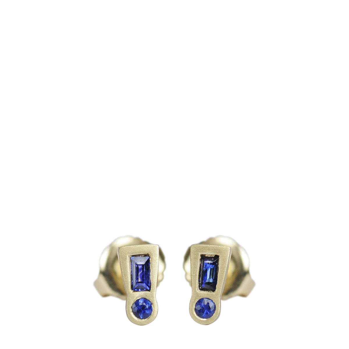 18K Gold Blue Sapphire Exclamation Point Stud Earrings