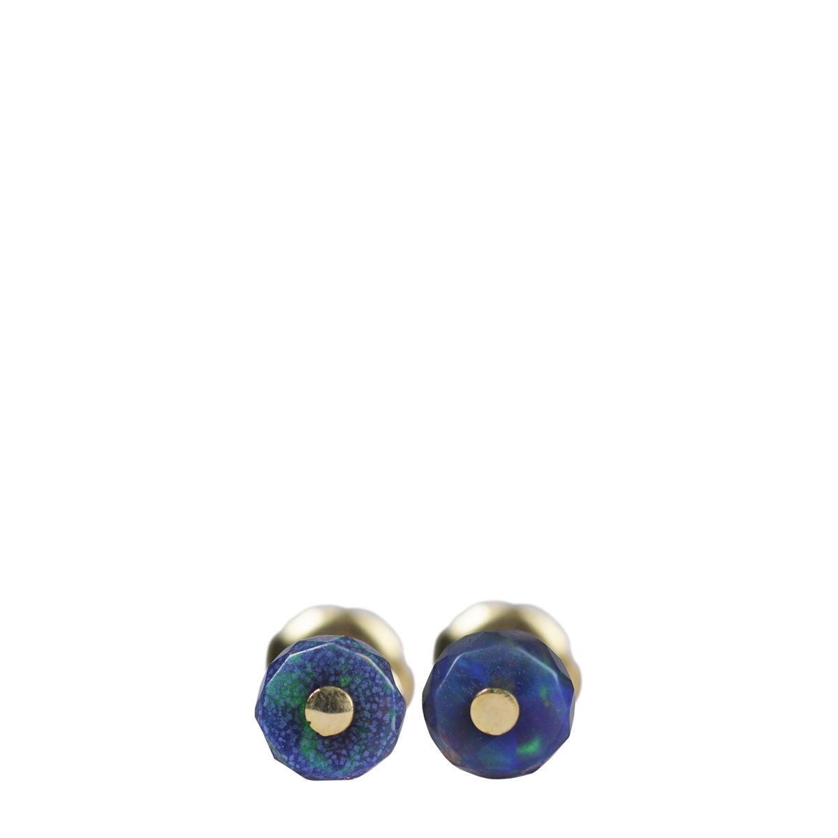 18K Gold Black Opal Sequin Bead Stud Earrings