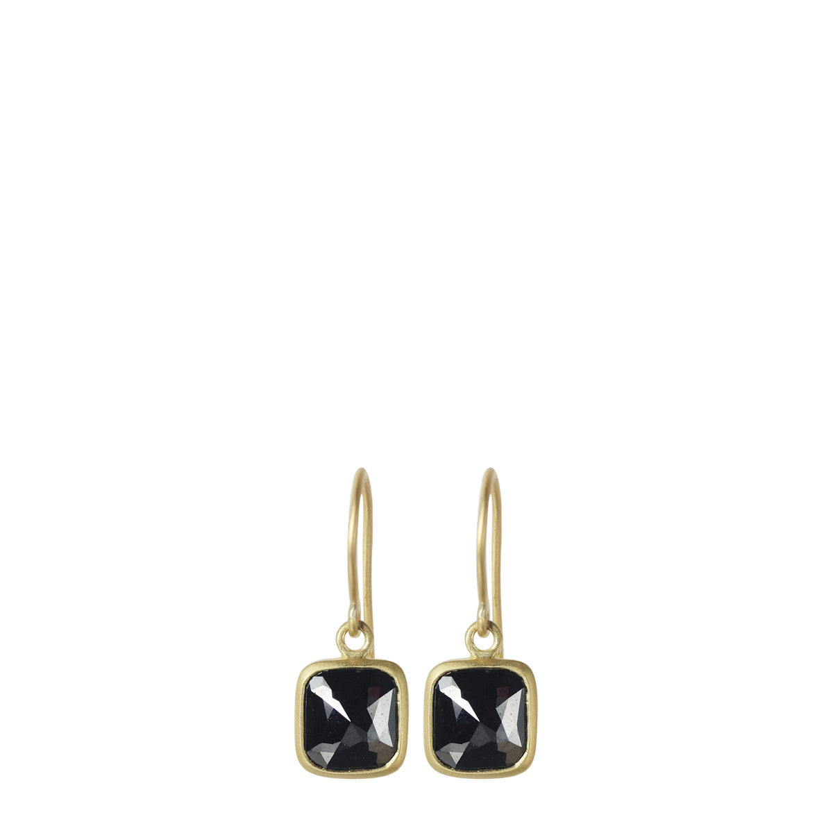 18K Gold Black Diamond Square Earrings