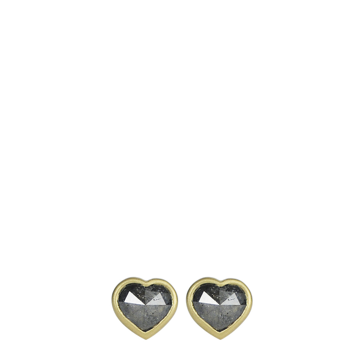 18K Gold Grey Diamond Heart Stud Earrings