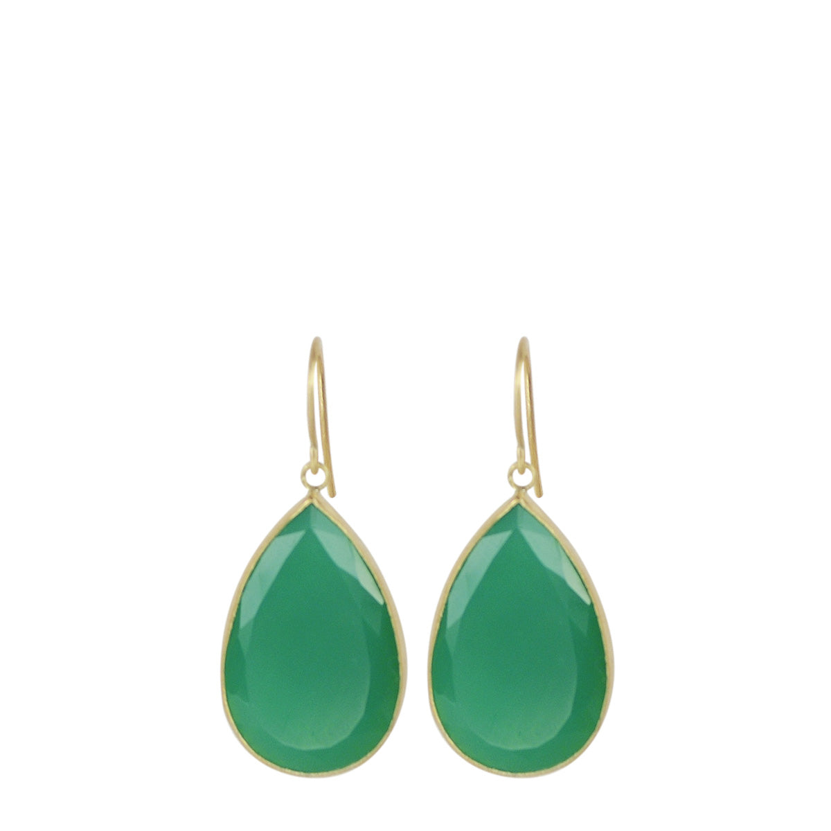18K Gold Chrysoprase Teardrop Earrings