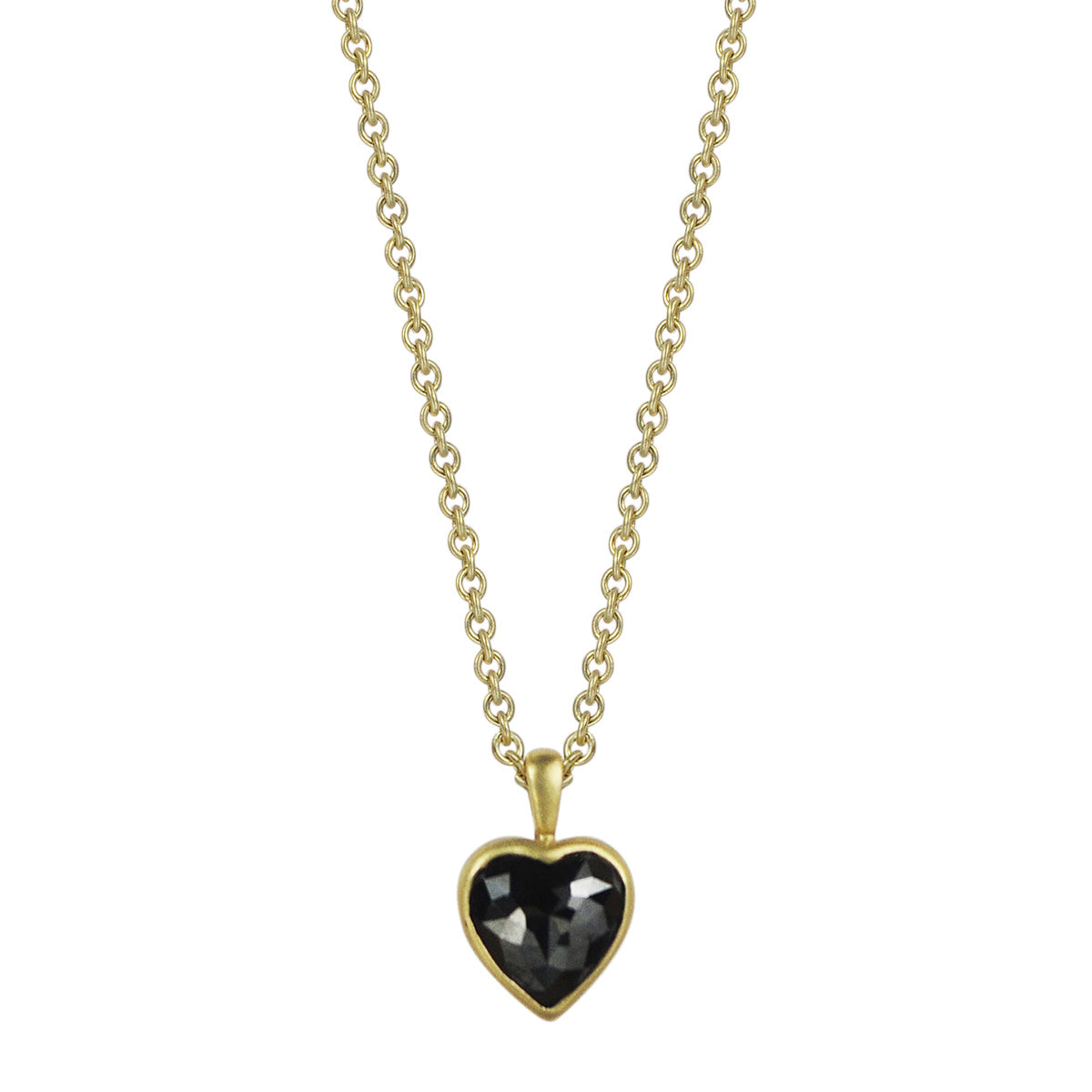 18K Gold Black Diamond Heart Pendant
