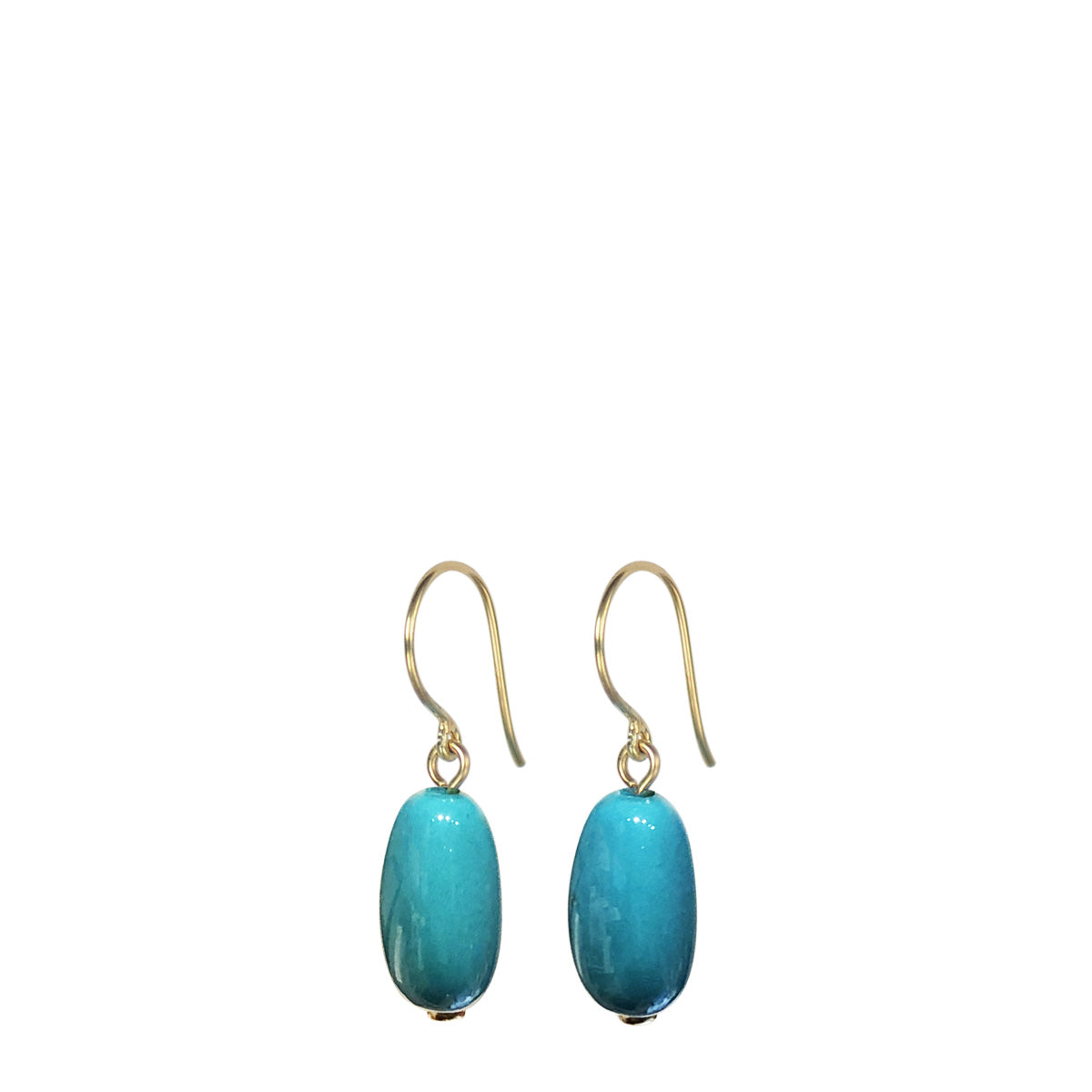 18K Gold Turquoise Bead Drop Earrings